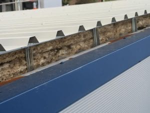 built-up metal roof showing insulation layer