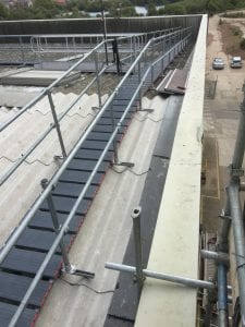 asbestos roof access - double hand-railed platform