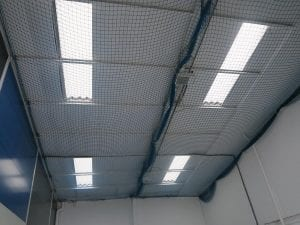 internal netting on an asbestos roof